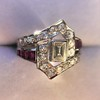 1.42ctw Emerald Cut and Ruby Art Deco Fancy Ring 23