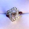 1.42ctw Emerald Cut and Ruby Art Deco Fancy Ring 27