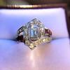 1.42ctw Emerald Cut and Ruby Art Deco Fancy Ring 16