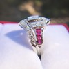 1.42ctw Emerald Cut and Ruby Art Deco Fancy Ring 8