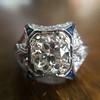 1.47ct Transitional Cut Diamond Art Deco Frame Ring 14