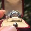 1.47ct Transitional Cut Diamond Art Deco Frame Ring 19