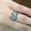 1.47ct Transitional Cut Diamond Art Deco Frame Ring 23