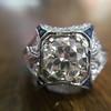 1.47ct Transitional Cut Diamond Art Deco Frame Ring 15