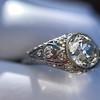 1.56ctw Art Deco Old European Cut Diamond Bezel Ring, GIA E SI1 25