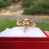 1.62ctw Vintage Emerald and Old European Cut Dinner Ring 2