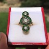 1.62ctw Vintage Emerald and Old European Cut Dinner Ring 3