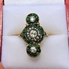 1.62ctw Vintage Emerald and Old European Cut Dinner Ring 10
