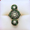 1.62ctw Vintage Emerald and Old European Cut Dinner Ring 0