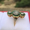 1.62ctw Vintage Emerald and Old European Cut Dinner Ring 7