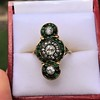 1.62ctw Vintage Emerald and Old European Cut Dinner Ring 14