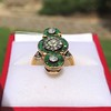 1.62ctw Vintage Emerald and Old European Cut Dinner Ring 1