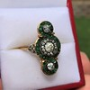 1.62ctw Vintage Emerald and Old European Cut Dinner Ring 12