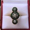 1.62ctw Vintage Emerald and Old European Cut Dinner Ring 17