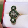 1.62ctw Vintage Emerald and Old European Cut Dinner Ring 13