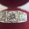 1.70ctw Old European Cut Diamond Art Deco 3-Stone Ring, GIA F 25