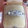 1.70ctw Old European Cut Diamond Art Deco 3-Stone Ring, GIA F 6