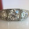 1.70ctw Old European Cut Diamond Art Deco 3-Stone Ring, GIA F 27