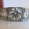 1.70ctw Old European Cut Diamond Art Deco 3-Stone Ring, GIA F 24
