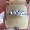 1.70ctw Old European Cut Diamond Art Deco 3-Stone Ring, GIA F 23