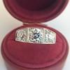 1.70ctw Old European Cut Diamond Art Deco 3-Stone Ring, GIA F 15