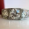 1.70ctw Old European Cut Diamond Art Deco 3-Stone Ring, GIA F 8