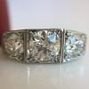 1.70ctw Old European Cut Diamond Art Deco 3-Stone Ring, GIA F 30