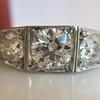 1.70ctw Old European Cut Diamond Art Deco 3-Stone Ring, GIA F 31