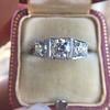 1.70ctw Old European Cut Diamond Art Deco 3-Stone Ring, GIA F 22