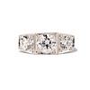 1.70ctw Old European Cut Diamond Art Deco 3-Stone Ring, GIA F 0
