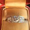 1.70ctw Old European Cut Diamond Art Deco 3-Stone Ring, GIA F 21