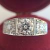 1.70ctw Old European Cut Diamond Art Deco 3-Stone Ring, GIA F 4