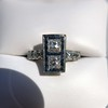 1.80ctw Art Deco French Cut Diamond Twin Stone Ring 18