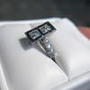 1.80ctw Art Deco French Cut Diamond Twin Stone Ring 28