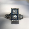 1.80ctw Art Deco French Cut Diamond Twin Stone Ring 10