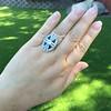 1.88ctw Art Deco style Saphhire and Diamond Dinner Ring 15