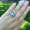 1.88ctw Art Deco style Saphhire and Diamond Dinner Ring 14