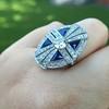 1.88ctw Art Deco style Saphhire and Diamond Dinner Ring 12