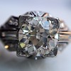 1.95ct Old European Cut Diamond Art Deco Ring, GIA L SI1 8