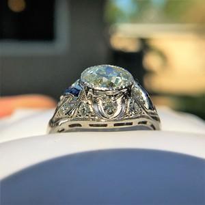 1.96ct Art Deco Old European Cut Diamond Dome Ring