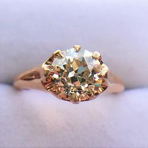 2.13ct Old European Cut Diamond Belcher Ring GIA QR VS2