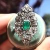 2.15ctw Vintage Emerald and Diamond Jabot Conversion Ring 5
