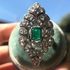2.15ctw Vintage Emerald and Diamond Jabot Conversion Ring 8