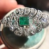2.15ctw Vintage Emerald and Diamond Jabot Conversion Ring 6