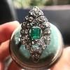 2.15ctw Vintage Emerald and Diamond Jabot Conversion Ring 10