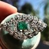 2.15ctw Vintage Emerald and Diamond Jabot Conversion Ring 12