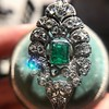 2.15ctw Vintage Emerald and Diamond Jabot Conversion Ring 7