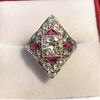2.41ctw Art Deco Diamond and Ruby Dinner Ring GIA J SI1 10