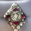 2.41ctw Art Deco Diamond and Ruby Dinner Ring GIA J SI1 19