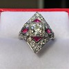 2.41ctw Art Deco Diamond and Ruby Dinner Ring GIA J SI1 25